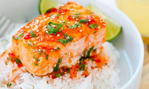 Блюдо с красной рыба